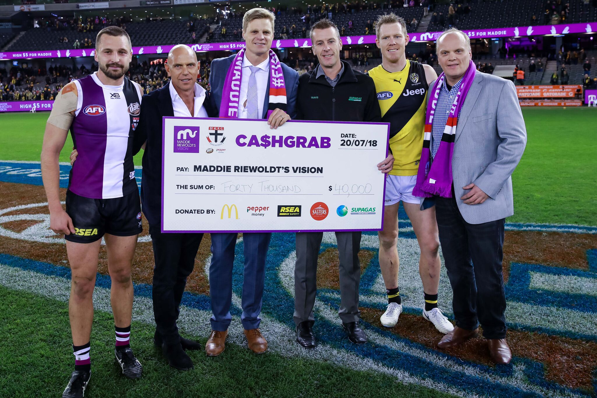 It Was An Amazing Night As The Crowd Of Over 37000 Celebrated The Life Of Maddie Riewoldt In A Sea Of Purple Through Crowd Attendance Direct Donations